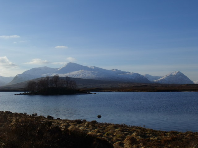 Wooded isle in the north reach of Loch Ba on Rannoch Moor