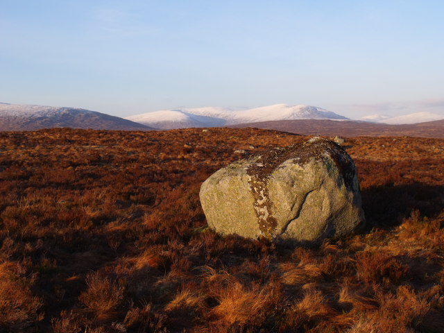 Solitary boulder on low ridge on Rannoch Moor