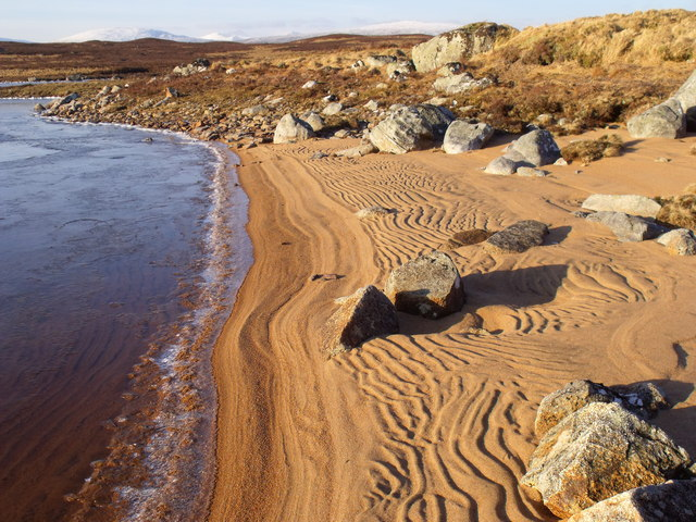 Ripples in the sand on the north reach of Loch Ba on Rannoch Moor