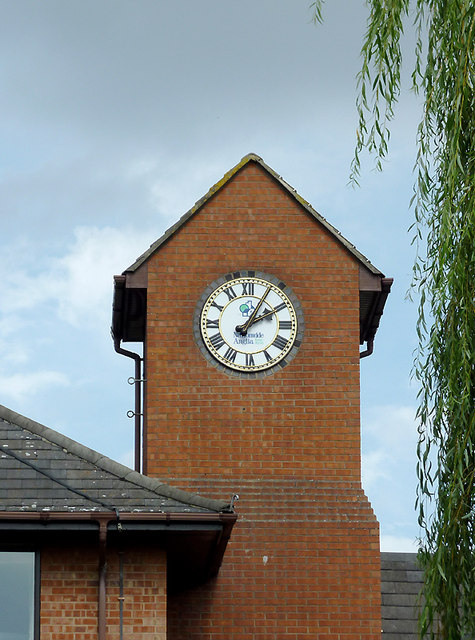 """Clock tower on """"The Moorings"""" at Stone, Staffordshire"""