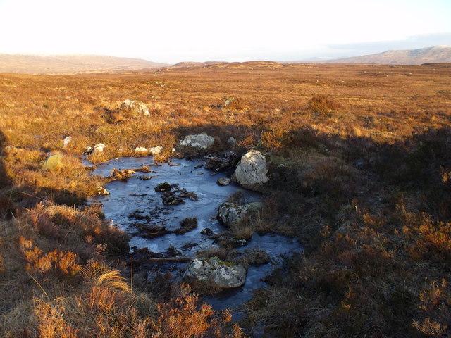 Damp pool among small morraine heaps on Rannoch Moor