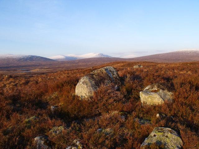 Group of rocks on low ridge north-east of Beinn Chaorach on Rannoch Moor