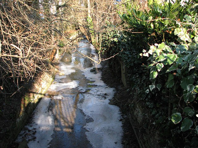 Icy brook in Sainsbury's car park