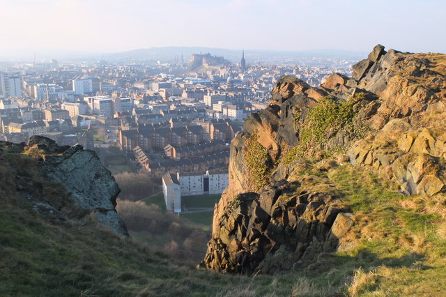 Edinburgh Castle from the top of Cat Nick gully, Salisbury Crags