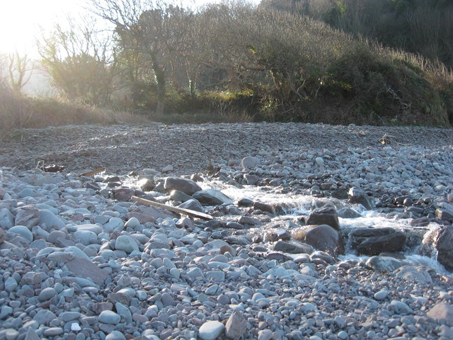Stream flowing out onto Gore Point beach