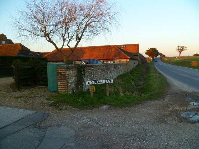 The junction of Old Place Lane and Madgwick Lane