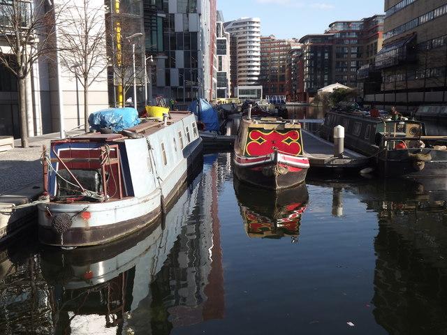 Narrowboats in Paddington Basin