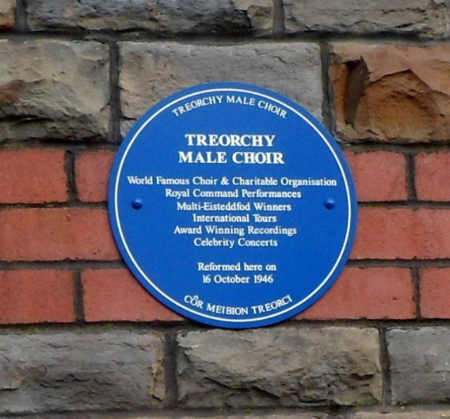 Treorchy Male Choir blue plaque in the wall of Treorchy Primary School