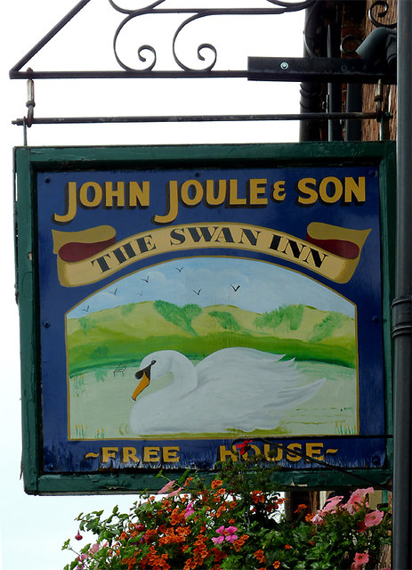 The Swan Inn pub sign at Stone, Staffordshire