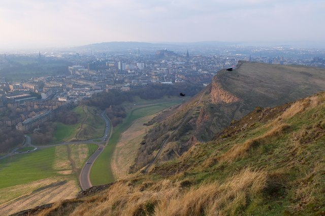 Salisbury Crags and Edinburgh city