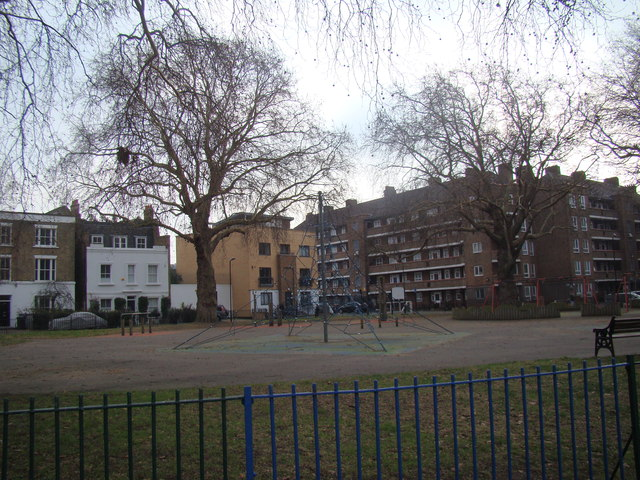 View of the children's play area from London Fields