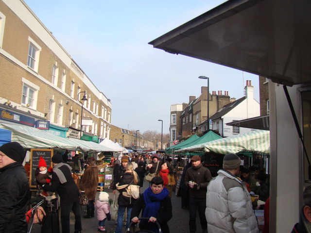 Looking down Broadway Market towards London Fields