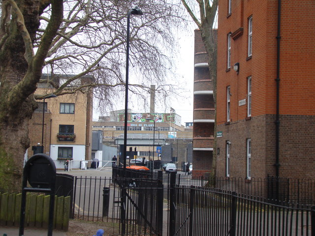 View of the railway and a former factory from London Fields
