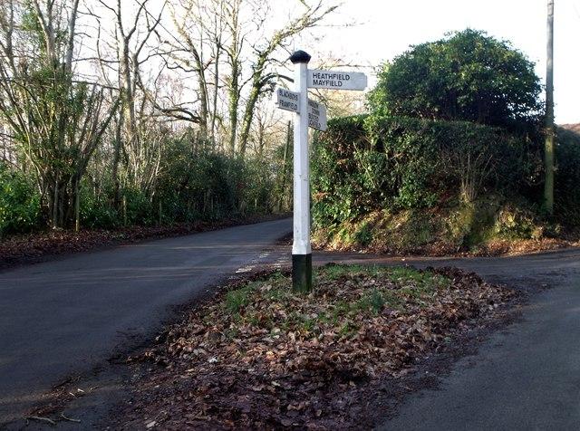 Minor road junction, Hadlow Down