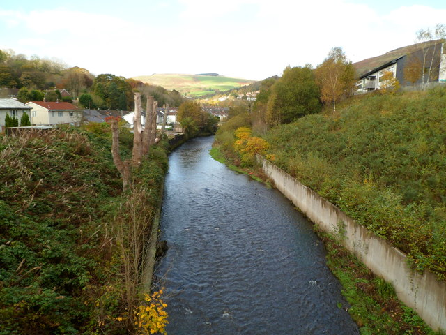 Rhondda Fawr river upstream from Princess Louise Road, LLwynypia