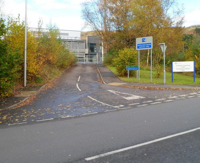 Princess Louise Road entrance to Ysbyty Cwm Rhondda