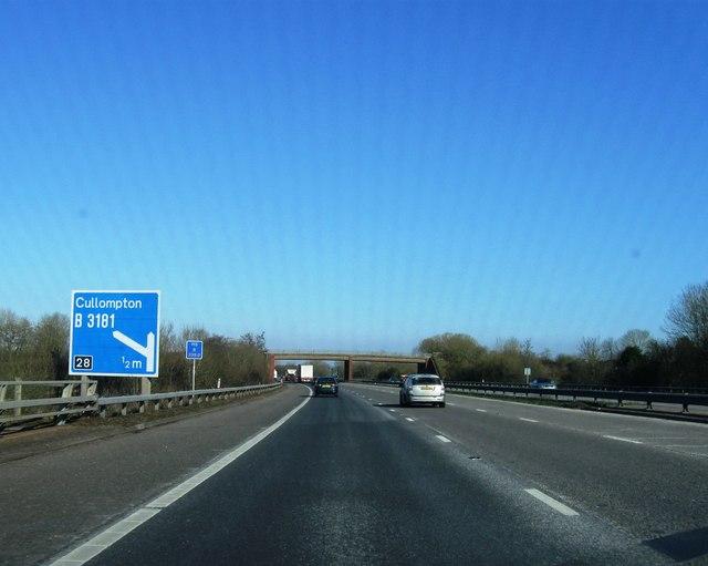 Approaching Cullompton, M5
