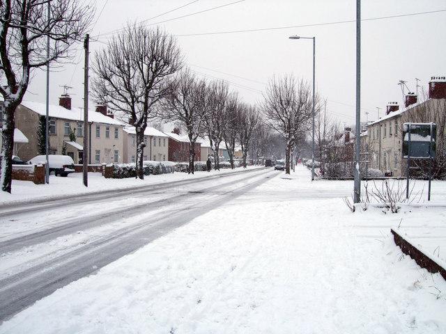 Pinehurst Road in the snow