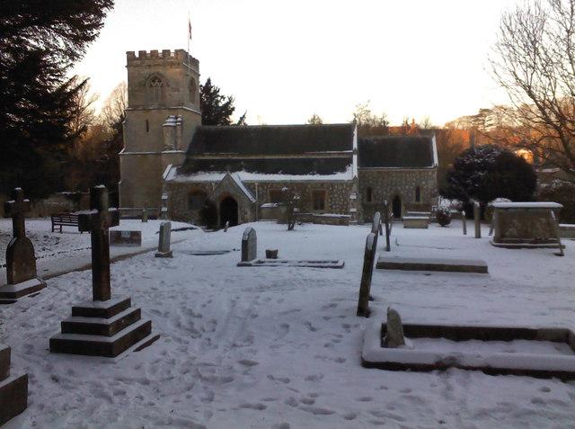 St. George's Church, Preshute in the snow