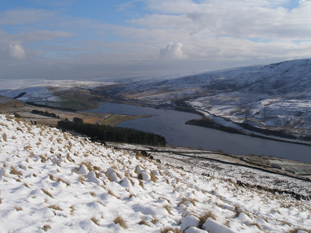 Woodhead Reservoir from above Crowden