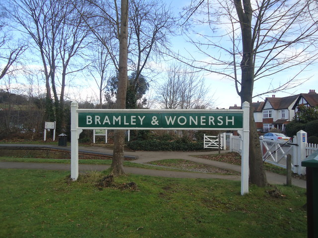 Bramley and Wonersh railway station sign