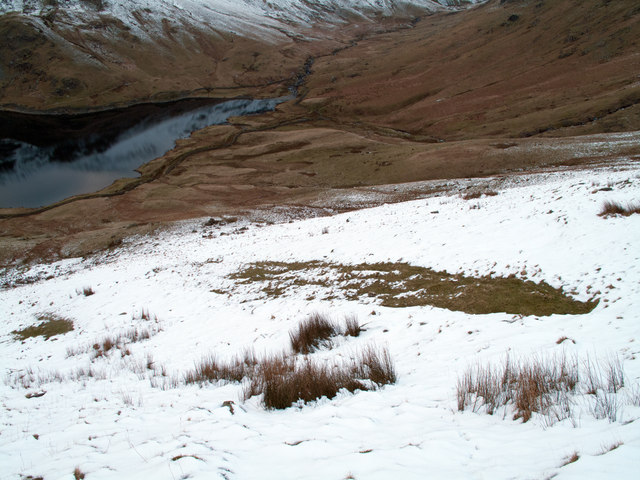 Mountain slope descending to Kentmere Reservoir