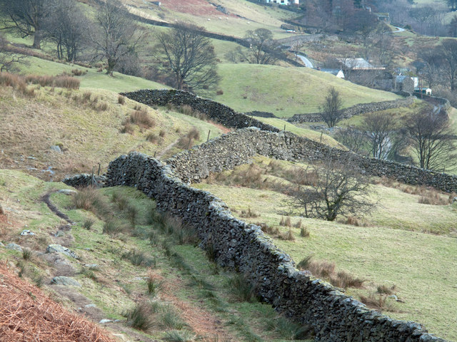 Dry stone walls north of Overend in the Kentmere valley