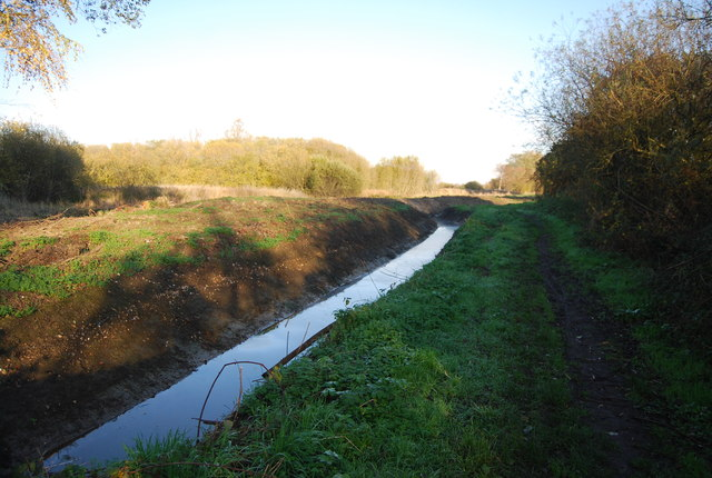 Drainage ditch by the footpath