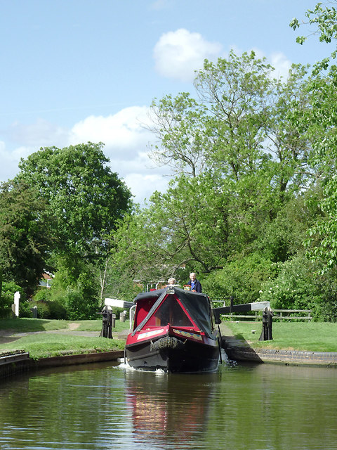 Narrowboat leaving Filance Lock at Penkridge, Staffordshire