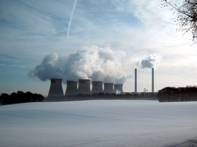 Snowy scene at Ferrybridge power station