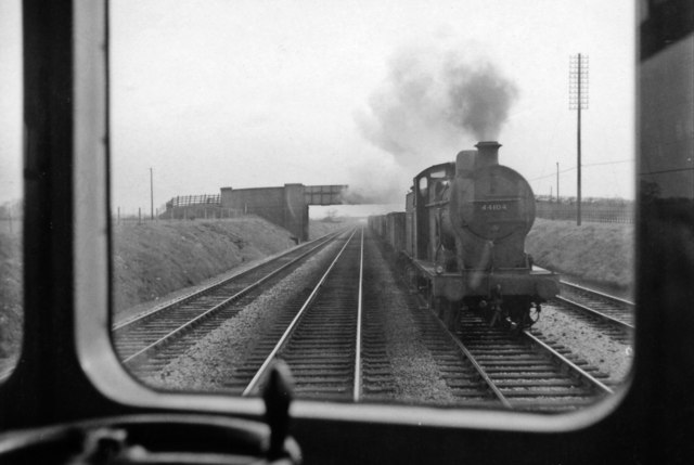 View near Stenson Junction from a Diesel car bound for Derby, passing a Down coal train