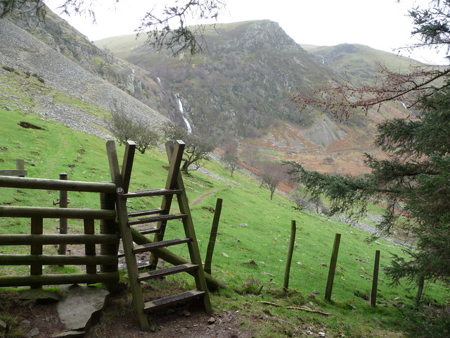 Ladder stile on the edge of a plantation near Aber Falls