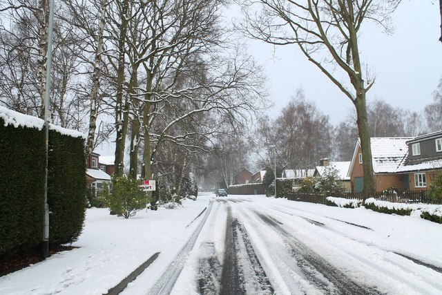 Finningley Road after snow
