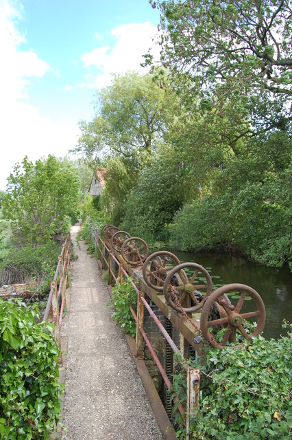 Mill leat and sluice gates at Fiddleford Mill