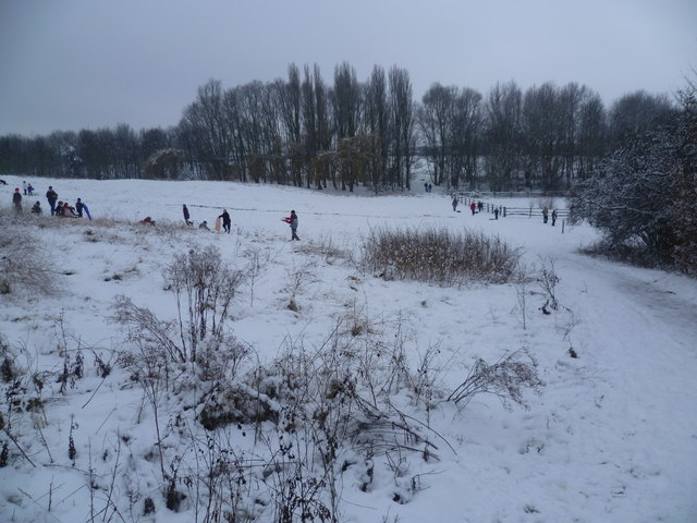 Tobogganing at East Wickham Open Space in the snow