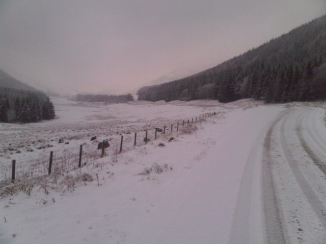 Snow on the A708 in Moffat Dale