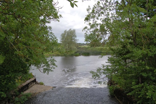 Spillway from weirs at Fiddleford Mill