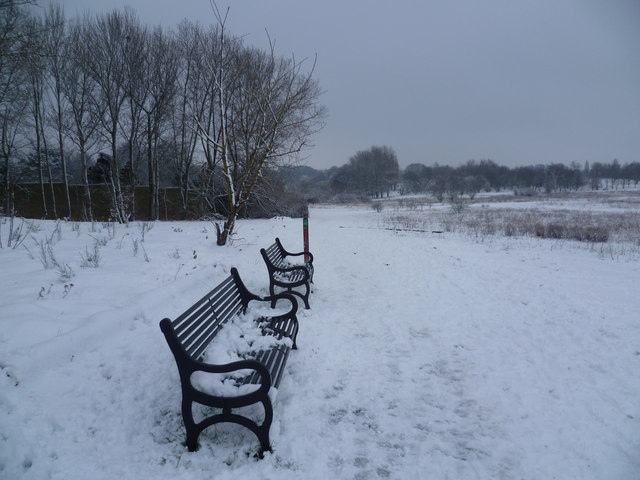 Along the bat walk at East Wickham Open Space after snow