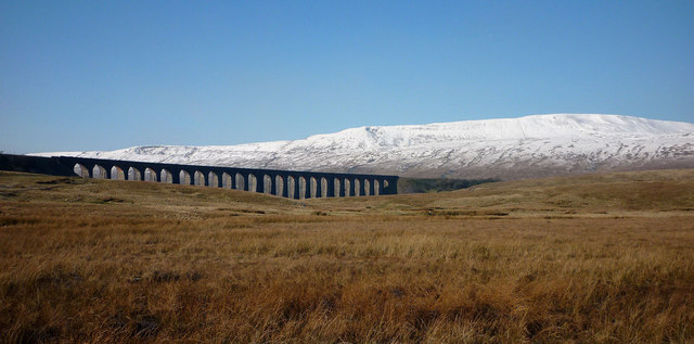 Ribblehead Viaduct and snow-capped Whernside