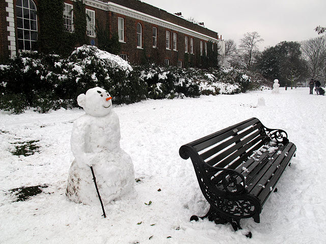 Snowman with stick