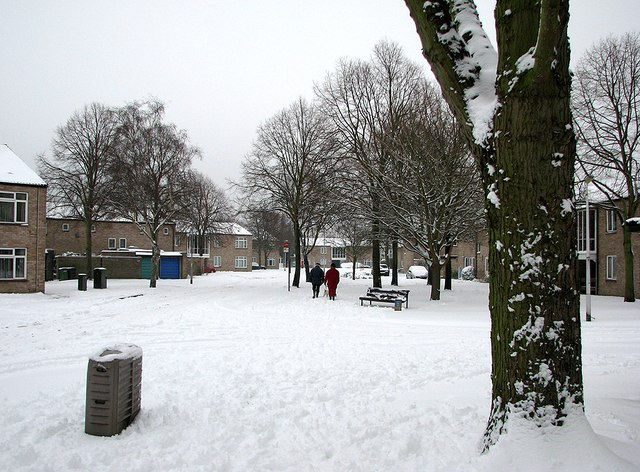 Lichfield Road flats in the snow