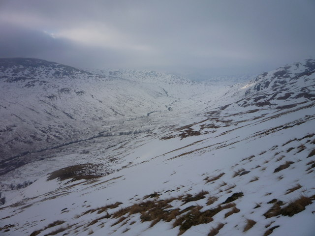 Looking across the flanks of Benvane's south ridge