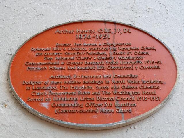 Arthur Hewitt, OBE, JP, DL 1876 - 1951, Llandudno