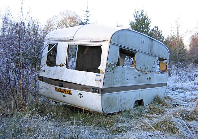 Old caravan at Teanacoil Sawmill