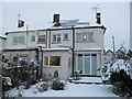 TQ2081 : Snow slips off solar panels by David Hawgood