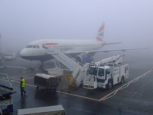 Fog at Glasgow International Airport