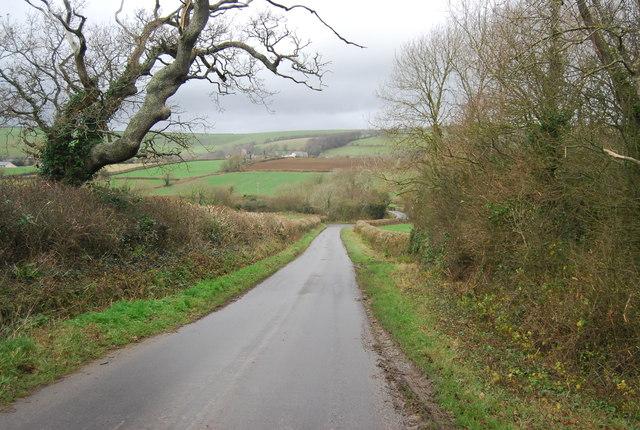 Park's Lane descending into the Bride Valley