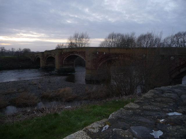 Bangor-on-Dee bridge on a winter evening