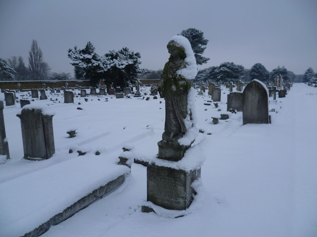 Woolwich New Cemetery in the snow