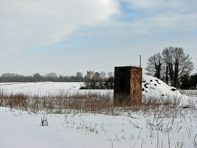 Over snowy fields to Great Wilbraham Church
